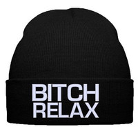 b**ch relax beanie b**ch relax hat snapback relax hat cap snapback knit hat