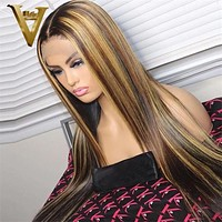 Ombre Highlight Human Hair Wigs For Women Straight Lace Front Wig Brown Honey Blonde Highlight Wig Brazilian Remy Lace Part Wig