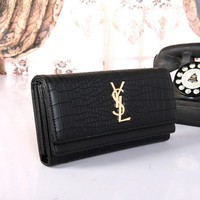 """Yves Saint Laurent YSL"" Women Fashion Crocodile Pattern Long Section Purse Three Fold Multi-card Bit Wallet Handbag"