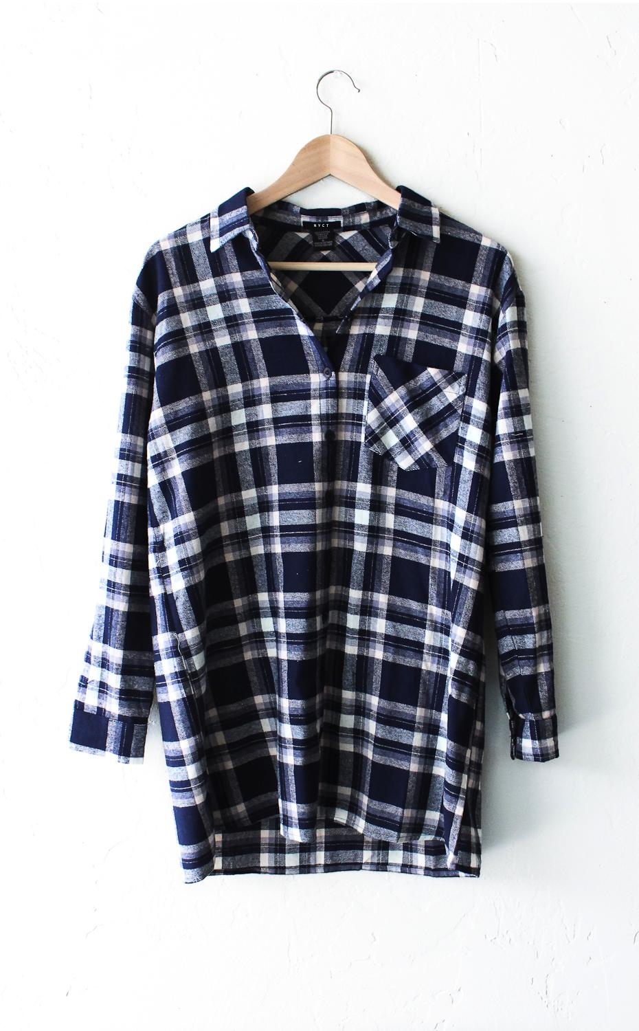Image of Oversized Plaid Flannel Shirt - Blue