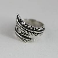 Retro New Arrival 925 Sterling Silver Feather Rings for Women Jewelry Fashion Open Adjustable Finger Ring Free Shipping