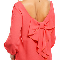 Bow on My Back Dress- Coral