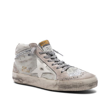 Golden Goose Suede Mid Star Sneakers in White & Silver | FWRD
