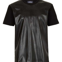 BLACK STAR PUNCH LEATHER LOOK FRONT T-SHIRT