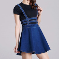 Brand Jeans Suspender Skirts  Hallow Out Above Knee Skirt Suspender