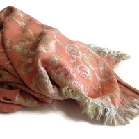 Vintage 50's Furniture Throw Peach Fabric Floral Design Heavy Brocade with Fringe