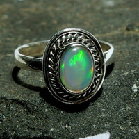 92.5 Sterling Silver N Genuine Multi Fire Ethiopian Welo Opal Ring - US Size 7.75 Stone Size 9x6mm Approx