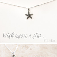 """""""Wish Upon a Star"""" Delicate Starfish Silver Plated Necklace"""