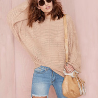 Long Sleeves Ribbed Knit Loose Sweater