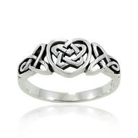 925 Oxidized Sterling Silver Celtic Knot Heart Triquetra Trinity Endless Band Ring for Women (Available in size 6, 7, 8, 9)- Nickel Free