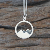 Sterling silver mountain range necklace, 15mm, Travler's Gift, Birthday Gift, Mother's Gift