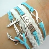 ArRord Fashion Vintage Love Nautical Anchor Silver Infinity Bracelet White Leather Skyblue Rope
