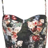 Multi Floral Print Corset - Tops  - Clothing