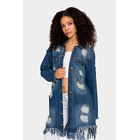 Long Distressed Denim Jean Jacket