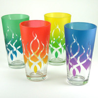 Tall Pint Glasses - Strands - 22 oz - Set of 4 - Custom Painted Glassware
