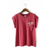 Letter Print Pocket Cotton Roll-up Sleeve T-shirt
