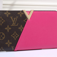 LV fashion leather spell color long wallet[380405383204]