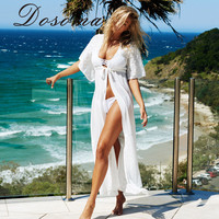 2016 Women Beach Cover Long Beach Dress For Ladies Swimsuit Lace Hollow Out Sunscreen Bikini Cover Up Sexy Bathing Suit Coverup