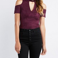 Faux Suede Mock Neck Cold Shoulder Bodysuit