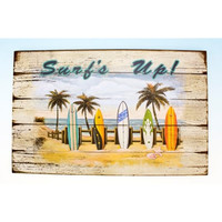 Coastal Beach Scene Surf's Up Surfboards Wooden 16 Inch Sign Plaque Wall Decor