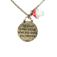 LOVEsick Quote Disc Mushroom Necklace