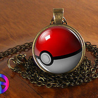 Pokemon Pokeball Necklace Pendant Jewelry Cosplay Toy Boys Girls Gift Art Anime