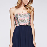 Tube Sequence Dress with Chiffon Skirt