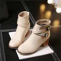 winter women Vintage High Heels Ankle Boots Snow Short Boots