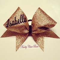 Custom Name Gold Glitter Cheer Bow (pick size and text style in comment section)