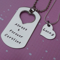 Custom Hand Stamped Matching Necklaces Set - Always and forever - Jewelry - His and Hers