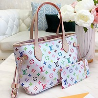 LV New fashion multicolor monogram print leather shoulder bag handbag two piece suit White
