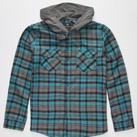 Shouthouse Edgemont Boys Hooded Flannel Shirt Turquoise  In Sizes