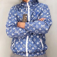 LV Fashion New Monogram Print Hooded Long Sleeve Coat Windbreaker Blue