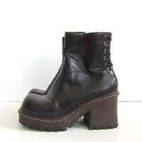 20% OFF SALE vintage 90s tall vegan brown ankle boots. chunky boots. size 7.5