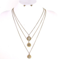Evil Eye Layered Pendant Necklace/Earrings Set - Gold or Silver