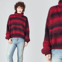 80s Red & Black Ombre Sweater / Mohair Striped Oversize Sweater / High Collar Wool Winter Large L Jumper