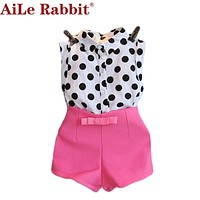 AiLe Rabbit 2017 girls clothing sets girl baby clothes polka dot coat + pink pants baby clothing kids clothes Kids ladies suit