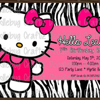Hello Kitty Custom Birthday Party Invitations --- Personalized with 24hr turn-around. Printable 4x6 or 5x7 Image! - Zebra Print Pink