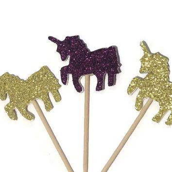 unicorn cupcake toppers, glitter unicorns party decorations, 12 horses, kids birthday party decor, pony, whimsy, 12 pieces