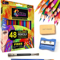 Colored Pencils - 48 Color Pencils Pre-Sharpened Set For Premium High Quality Drawing & Coloring + 4 Free Extra Art supplies -Perfect for Kids, Art Students and Professionals