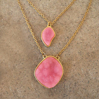 Double Peony Druzy Necklace [3301] - $21.00 : Vintage Inspired Clothing & Affordable Fall Frocks, deloom | Modern. Vintage. Crafted.