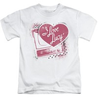 I Love Lucy Boys T-Shirt Vintage TV with Logo White Tee