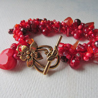 Hearts and Flowers Red Crochet Bracelet - Valentine's Day - Gift For Her