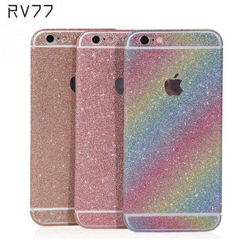 Bling Shining Vinyl Shiny Crystal Diamond Full Body Front and Back Wrap Decal Film Sticker Skin For iPhone 6 6S 4.7in