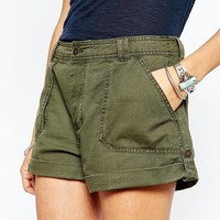 Abercrombie & Fitch Roll Up Military Shorts