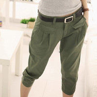2017 Brand women Military Cargo Pants Multi-pockets Baggy women Pants Casual Trousers green Overalls Army Pants for women 1085#