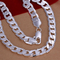 12mm Silver Plated Link Chain Necklace