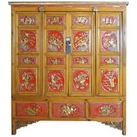 Ornate Wide and Large Antique Chinese Wooden Armoire