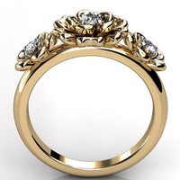 14k yellow gold diamond unique floral three stone engagement ring, bridal ring, wedding ring ER-1057-2
