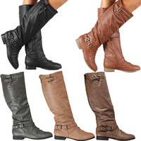 Womens Riding Boots Knee High Fashion Slouch Faux Leather Hot Stylish Shoes Size